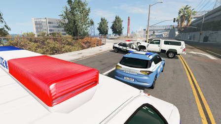 BeamNG:开车超速,被数十辆警车拦截,想跑也跑不掉