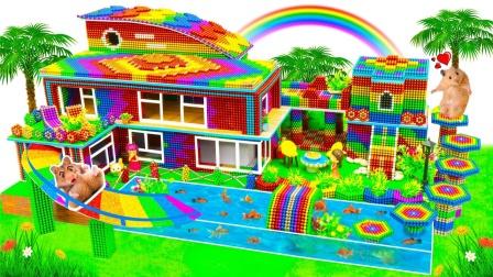 巴克球玩具拼搭彩色滑梯小房子模型