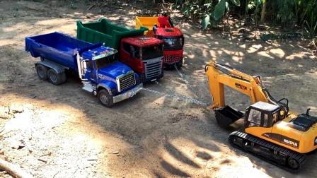 遥控工程车运输泥土天坑铺路真棒!儿童玩具亲子互动