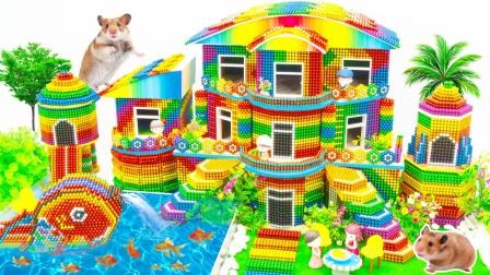 DIY巴克球双楼梯别墅玩具模型