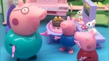 今天猪妈妈不在家,猪爸爸要带佩奇乔治出门吃