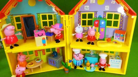小猪佩奇玩具开箱:把不同状态的小猪佩奇放进合适的房间
