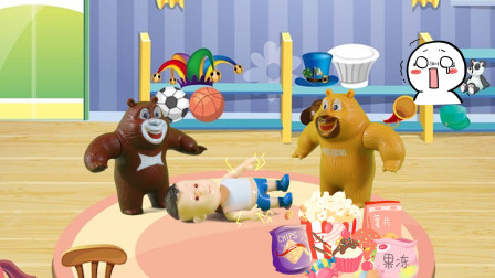 儿童剧:光头强乱吃零食闹肚子,熊大吓得赶紧带他去看医生