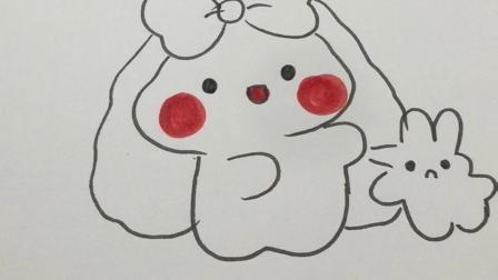 猜猜兔子妈妈和兔子宝宝在干嘛#简笔画