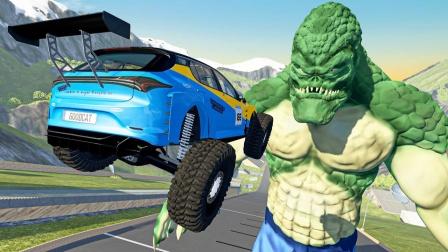 高速行驶的汽车碰上杀手鳄会怎样?3D动画模拟,结果太刺激了!