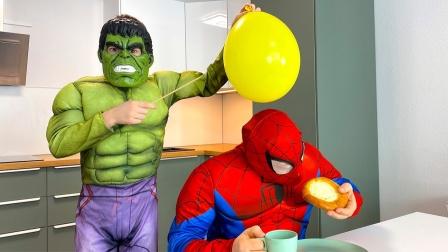 蜘蛛侠整完绿巨人,绿巨人发大招儿了!他会扎爆气球吗?