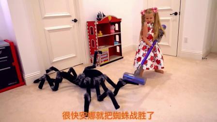 小萝莉把超大号蜘蛛给打倒了