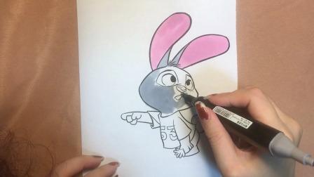 疯狂动物城朱迪兔简单涂色,小朋友们快学起来~(上)