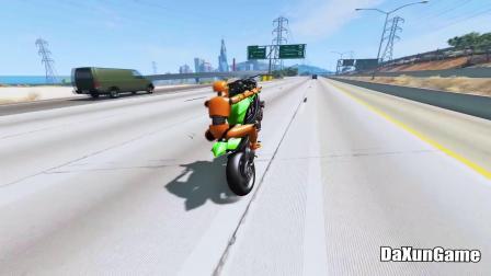 骑摩托车在公路上玩特技,结果发生惨烈车祸