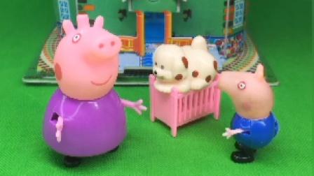 猪奶奶给乔治买了婴儿车,乔治让狗狗坐