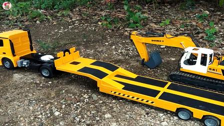遥控工程车,平板卡车运输挖掘机,儿童玩具车