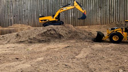 遥控工程车施工,两组工程车比赛工作,装载车推土机挖掘机自卸车,儿童玩具车