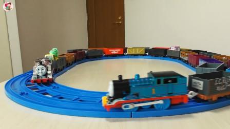 遥控托马斯火车蓝色轨道火车运输工程车展示,儿童玩具车