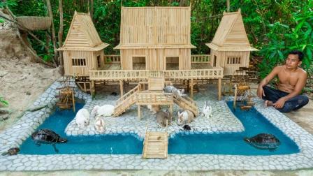 """牛人为饲养兔子,建造""""豪华木屋"""",成品太惊艳了!"""