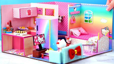 手工制作迷你娃娃屋:制作凯蒂猫主题娃娃屋