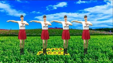 陕北情歌广场舞《梦中的兰花花》山坡开出红艳艳,山坡想起妹妹情