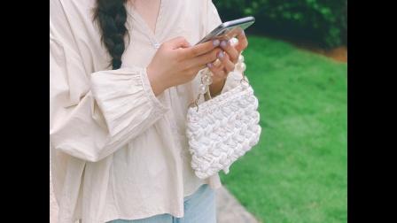 【麦子的钩针】83布条线珍珠手链手拎小香风包