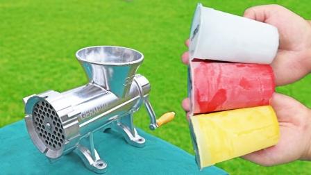 冰镇饮料放进绞肉机,会发生什么?画面太解压了!