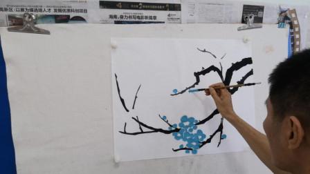 画一幅简单小绿梅