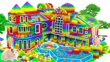 炫彩巴克球玩具DIY拼搭花园古堡玩具