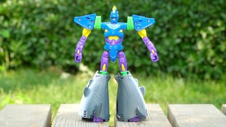 咖宝车神变形玩具:银鲨艾依变身成鲨鱼 巨兽时代变形机器人机甲