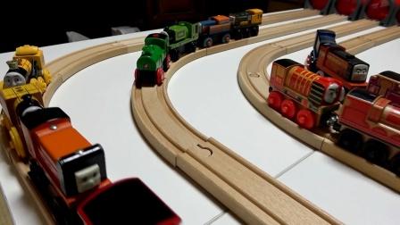 木质轨道,托马斯火车运输货物真棒