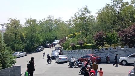 家长领着孩子出游过六一 凌海九华山环山路停满私家车成一道风景线