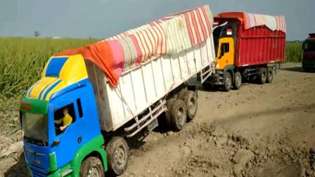 创意玩具 各种彩色卡车比赛运送货物
