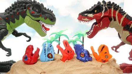 乐高恐龙玩具和彩色恐龙模型展示
