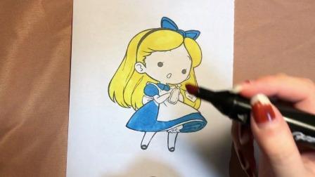 小爱丽丝简单涂色,小朋友们快学起来~