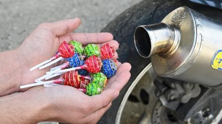 将棒棒糖放进排气管会发生什么?老外实测,场面瞬间失控!