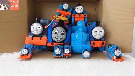 积木拼搭托马斯 小火车彩色珠子转动起来