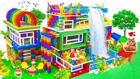 巴克球玩具DIY拼出高跷别墅和彩虹滑梯
