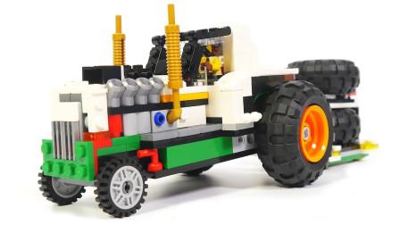 拼搭彩色巨轮拖拉机积木玩具
