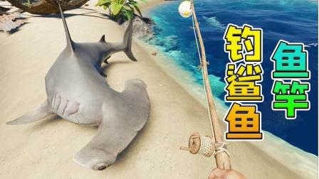帝哥历险记:荒岛求生第69天,荒岛用鱼竿能钓到鲨鱼吗?