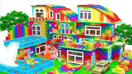 拼搭双座巴克球弯曲屋顶别墅玩具