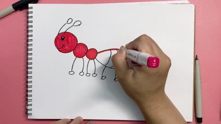 怎样画卡通蚂蚁?