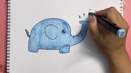 怎样画一头卡通大象?
