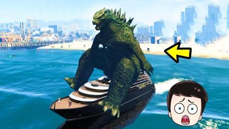 炮芯去海边游玩,居然遇到哥斯拉,它想踩死我!