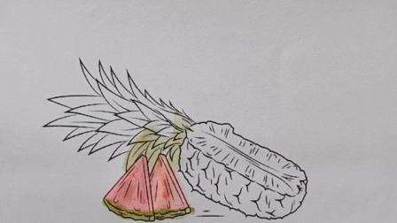 简笔画大白菜西瓜