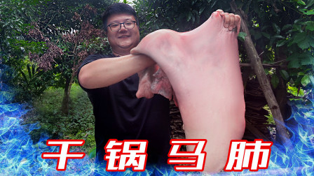 """205买了一只马肺,阿米做""""干锅马肺""""香辣入味,开胃下饭"""