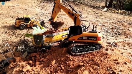 遥控工程车,大卡车挖掘机装载车运输泥土铺路真棒