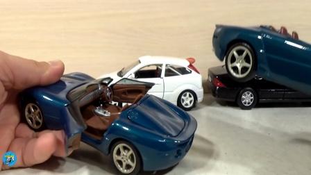 展示好多辆不同款式小汽车,小汽车赛跑真棒