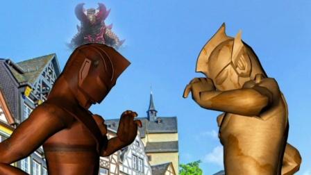 怪兽太可恶了,把奥特曼变成了石像!