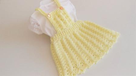 「钩针编织」麻花纹理的背带裙!
