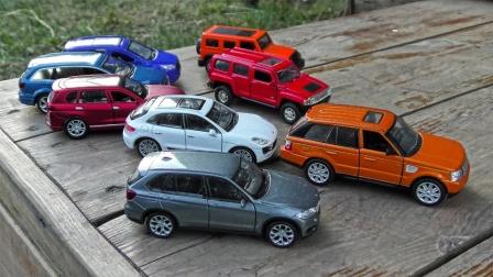 炫彩越野车SUV汽车在乡间小路行驶