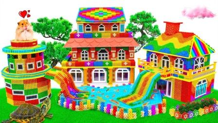 巴克球玩具打造花园别墅和双滑梯泳池模型