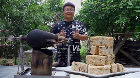 用老式米花机自制米花糖是什么样的体验?香甜酥脆,儿时的味道