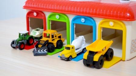 玩具车和汽车仓库:翻斗车、搅拌车、农用拖拉机,合金小汽车模型