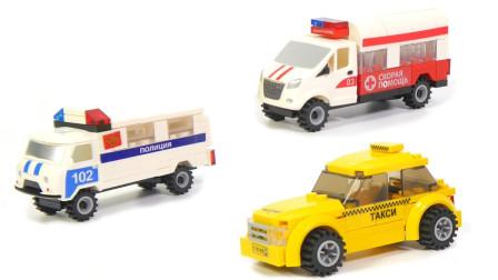彩色小积木拼搭多辆迷你汽车玩具